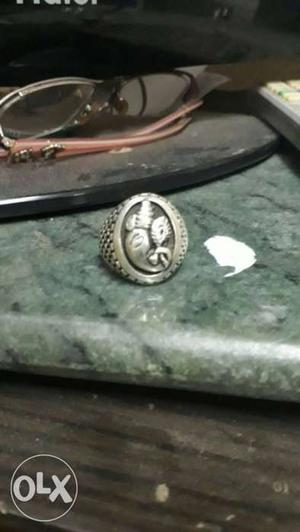 Silver 92.5 ganpati ring for both male and female