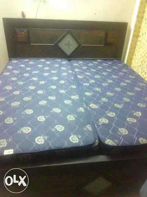 Wooden double bed with mattress 3 yrs old