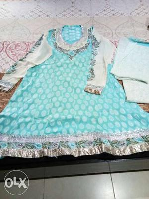 Aqua blue n white chanderi cotton dress with