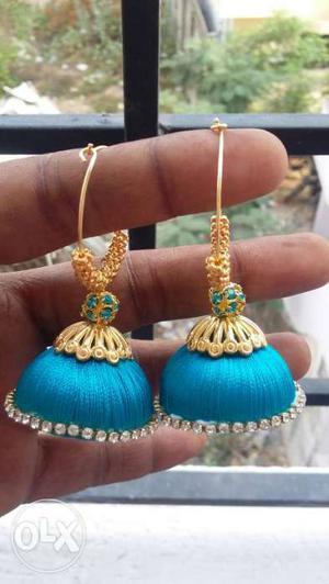 Big size Blue-and-beige Silk Thread Jhumka Earrings