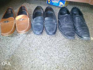 Men's Three Pairs Of Leather Shoes size 9 brown is new