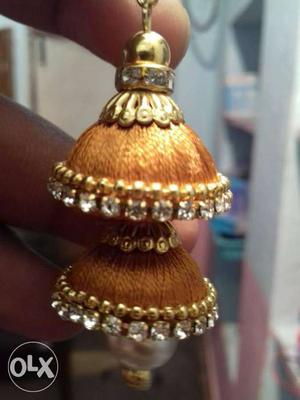 Silver And Gold Thread Jhumka Earrings