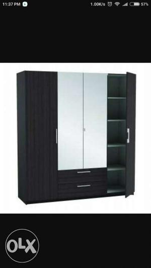 1 year old 4 door wardrobe with double mirror for