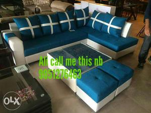 Blue And White Sectional Couch And Ottoman