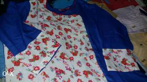White, Red, And Blue Floral Fabric Cloth