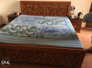 Wooden Bed only 6 months used with spacious bed boxes