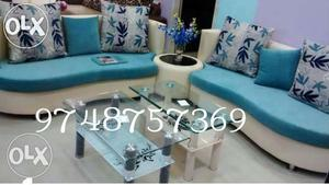 Teal And White Sectional Couch
