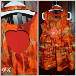 Orange printed 2year frock with hairband