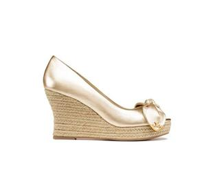 Tory Burch Gold Dory Peep Toe Wedges at Darveys Delhi