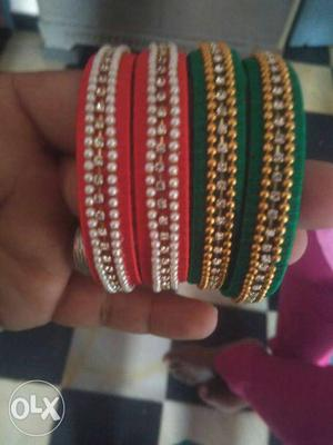 Four Red And Green Pearl Beaded Single Bangle Bracelets