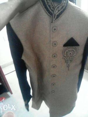 Gray And Black Raglan Knit Button Jaacket