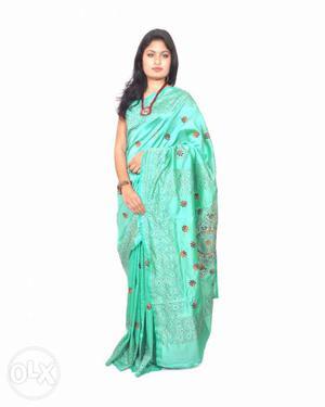 Kantha Worked Bhagalpuri silk saree with blouse piece
