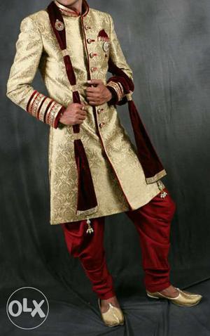 Men's golden And Red sherwani