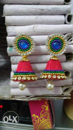 Red-and-blue Silk Thread Jhumka Earrings