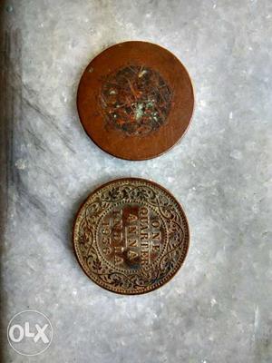 Two One Quarter Anna Coins
