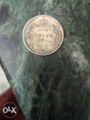 Year  one rupee coin of india, with Edward