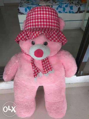 Life Size Pink And White Teddy Bear Wearing Red And White