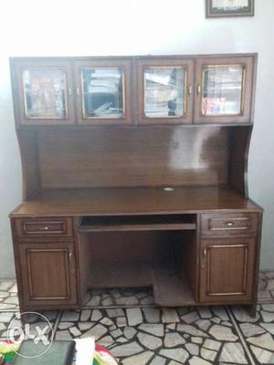 Rectangular Brown Wooden Desk With Hutch