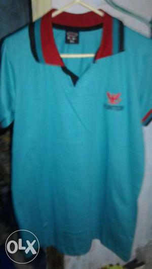 Blue And Red Polo Shirt