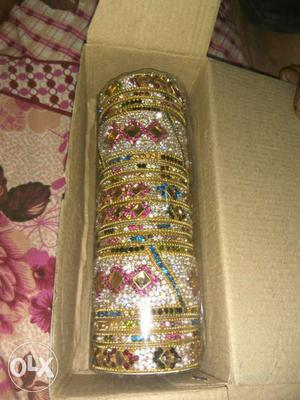 Gold, Pink And Silver Bracelet In Box