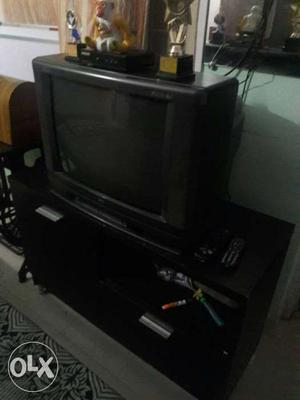 BPL colour TV along with 1 year old TV table with