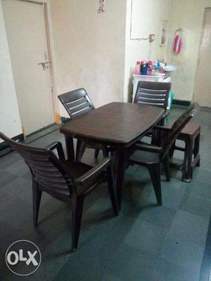 Dinning Table with Premium Plastic High Back Chairs