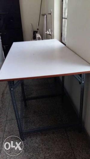 Grey Base White Rectangular Table