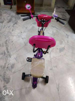 Pink And Purple Bicycle With Training Wheels