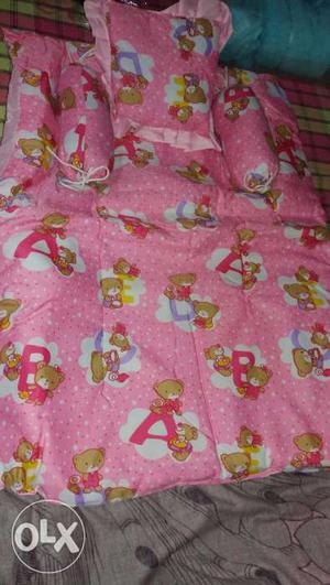 Pink colour baby bedding