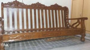 Teak Wood sofa with 2 Teak wood chairs