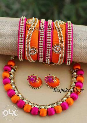 Four Gold-and-pink Bangle Bracelets; Pair Of Orange-and-pink