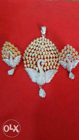 Gold And Diamond Swan Pendant And Earrings
