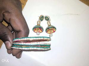 Green And White Silk Thread Jhumka Earrings And Bangles