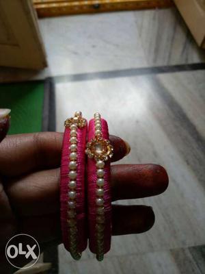 Pink Beaded Bangle Bracelet
