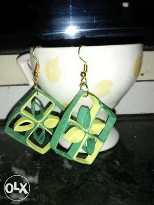 Two green quilled Hook Earrings