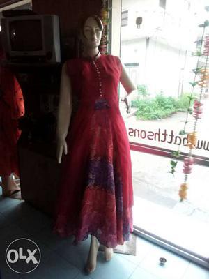 Women's Red Crew Neck Sleeveless Flare Dress