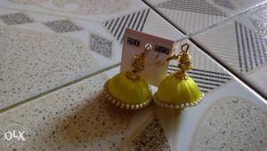 Yellow Silk Thread Jhumka Earrings