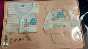 Baby's Peach And White Circus Clothes Gift Set In Box