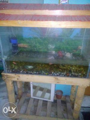 Brown Wooden Frame Fish Tank On Brown Fish Tank Stand