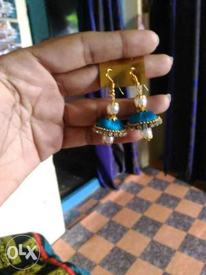 Pair Of Blue Green Embellished With Diamonds Silk Thread