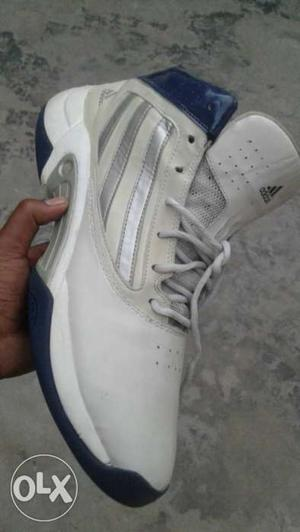White And Blue Adidas Basketball Shoes