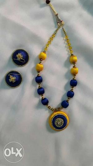 Yellow And Blue Beaded Necklace With Round Yellow And Blue