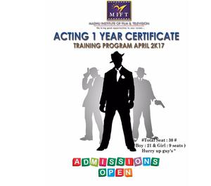 Admit open- NOW ACTING 1 YEAR CERTIFICATE TRAINING PROGRM