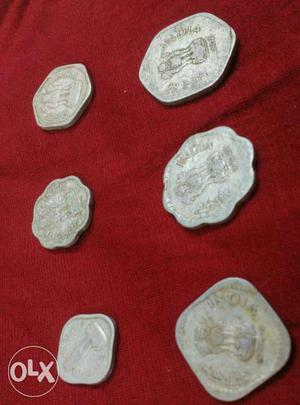 Set of 6 old coins -  paise
