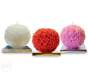 Three White, Red And Pink Rose Candles