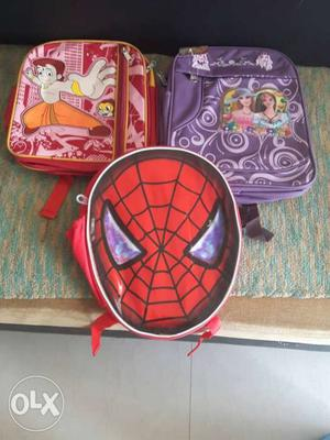 Brand new 2 school bags with 1 spider bag free
