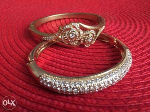 Bracelets studded with white stones