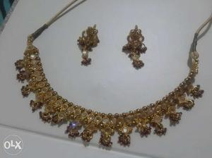 Gold And Diamond Floral Necklace And Earrings