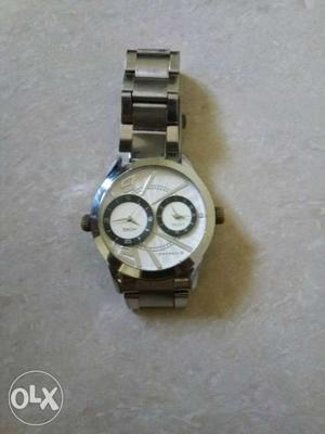 Round Bezel Chronograph Watch With Silver Link. GIORDANO