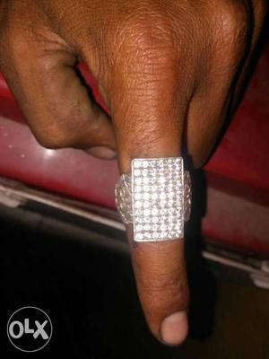 Silver And Diamond Embelisshed Ring